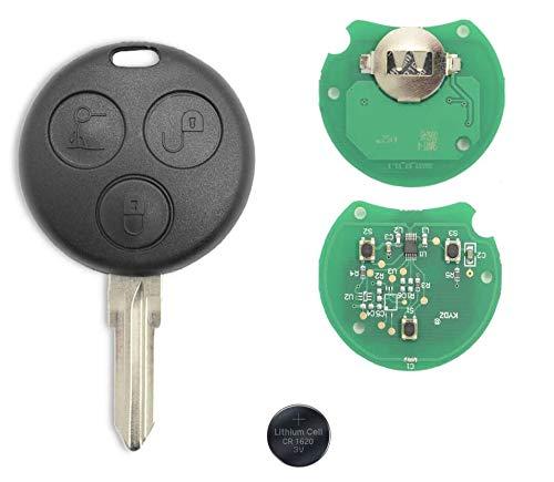 Shoppy Lab Compatible con Carcasa de Llave Reemplazo de Control Remoto Smart 450 Fortwo Forfour 3 Teclas Frecuencia 433 MHz Hoja de transpondedor de Chip de Llave Completa y batería de 3V