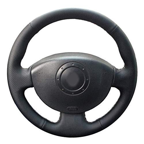JIERS Cubierta del Volante del Coche, para Renault Megane 2 2003-2008 Kangoo 2008 Scenic 2 2003-2009, Cubierta de Volante de Coche Cosida a Mano