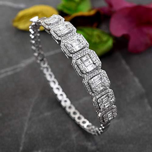 Spectrum Jewels Natural 3.20 Ct SI/HI Baguette Diamond Bracelet 18k White Gold Handmade Jewelry for Girls and Women