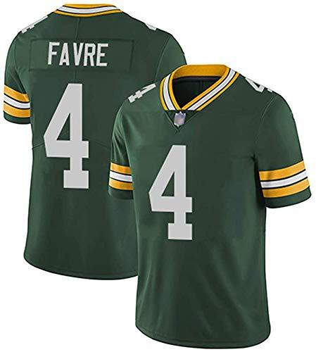 Camiseta de rugby para hombre Brett Favre # 4 Green Bay Packers Fútbol Jersey, Unisex Deportes de Manga Corta Sudadera Fitness Transpirable Bordado Mejor Regalo, verde, L(180cm~185cm)