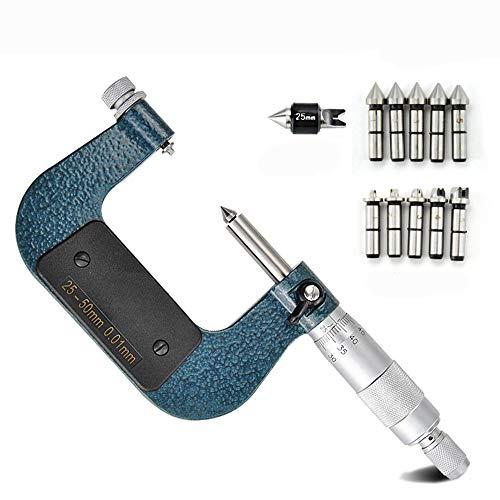 Hanchen Micrómetro de rosca de tornillo 0-25/25-50/50-75/75-100 mm Micrómetro externo de diámetro exterior certificado CE, 50-75mm
