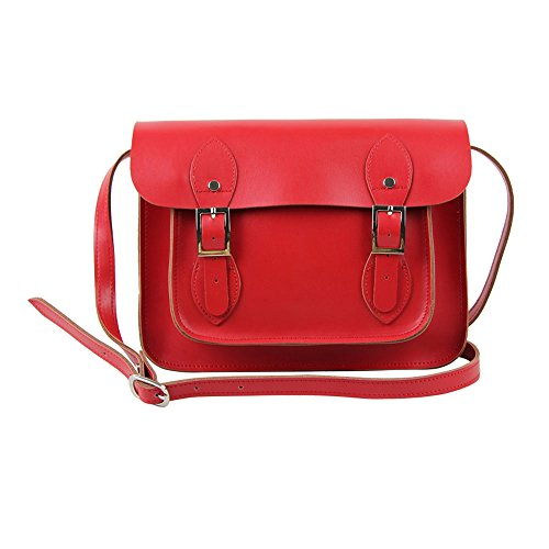 11' Real Leather Yasmin Bags Satchel - (11' (Small), Red)