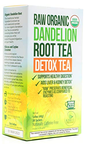 Dandelion Root Tea Detox Tea - Raw Organic Vitamin Rich Digestive - Helps Improve Digestion and Immune System - Anti-inflammatory and Antioxidant (1...