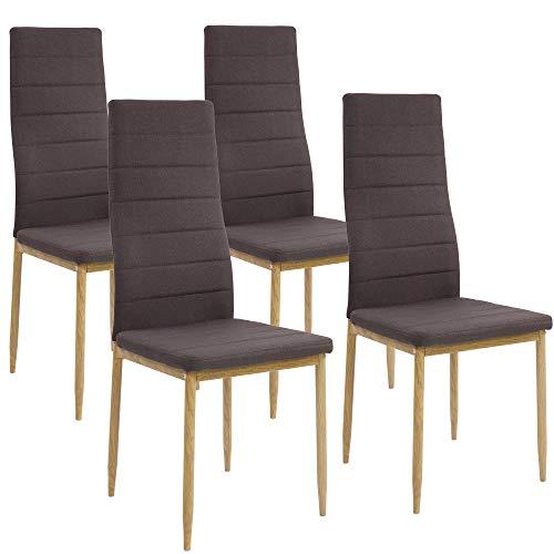 Albatros Esszimmerstühle SAN REMO 4-er Set Espresso/Braun, Stoffbezug, Bequem & Ergonomisch geformte Lehne, Küchenstühle