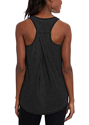 Mippo Workout Tops for Women Cute Athletic Active Yoga Tank Yops Running Racerback Tank Tops Loose Fit Muscle Tank Workout Sports Shirts Gym Tops Summer Workout Clothes for Women Heather Gray L