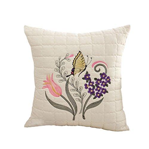 Jiu Bu 20 * 20 Pouces Motif De Fleurs De Papillon Oreiller Lombaire en Tissu Coton Broderie Décoration De La Maison,A-20 * 20Inches