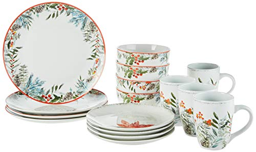 American Atelier Floral Winter Holiday Dinnerware Set – 16-Piece...