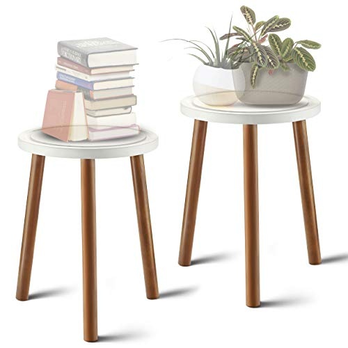 LITADA Wood Plant Stand (Set of 2) Mid Century Small Side Table, 15.8'' Tall – Round Side End...