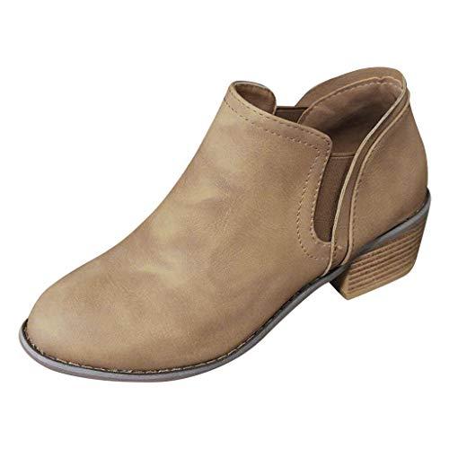 OYSOHE Damen Rom Klassisch Stiefel Große Größe Winterstiefel Frauen Ankle Boots Slip-On Damenschuhe(Khaki,37 CN