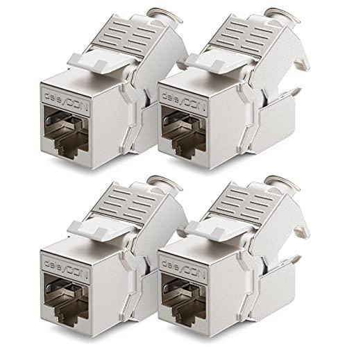 deleyCON 4X CAT6a Keystone Jack Modul Patchkabel Netzwerkkabel Verbinder STP Schirmung RJ45 Buchse Netzwerk Dose Patchpanel Keystonehalterung Erweiterung