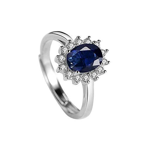 XAFXAL Damenring Vintage,Öffnung Verstellbar Ist Retro Frauen Ring Vergoldet Rose Gold Blue Diamond Ring Für'S Freundin Valentinstag Verlobung Geburtstag Geschenk Frauen Ring