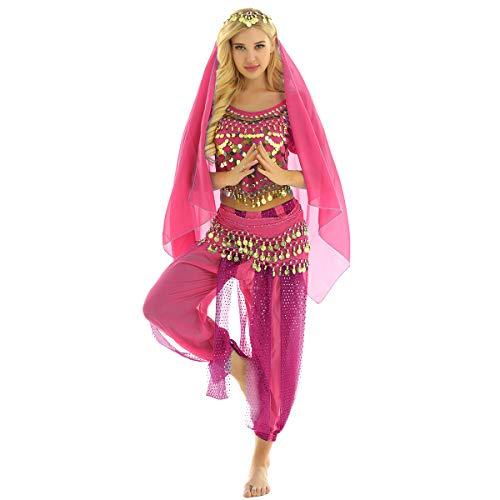 YiZYiF 4tlg. Damen Bauchtanz Kostüm Oberteil+Haremshose+Kopftuch+Hüfttuch indischen Tanzkleidung Belly Dance Karneval Fasching Performance Outfits Rose One Size