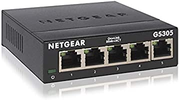 NETGEAR GS305 Switch 5 Port Gigabit Ethernet LAN Switch (Plug-and-Play Netzwerk Switch, LAN Verteiler, Hub...