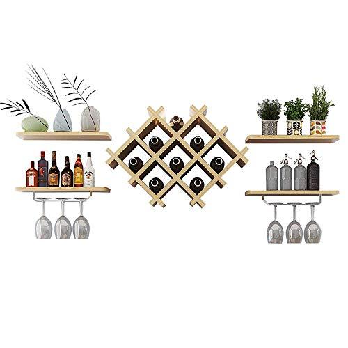 WLABCD Racque À Vin Accueil Porte-Vignoble Verre de Vin Restaurant S, Montage Mural Porte-Bouteilles Champagne Storage Verre Unité 4 Flottant Shees Bar Accessoires Sheing,Couleur de Noyer Léger