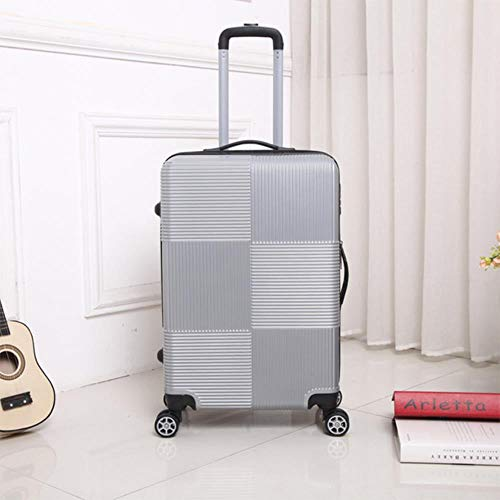 NTR Travel Rolling luggage ABS+PC Women suitcase on wheels men carry-on trolley box luggage 20/28 inch,Silver,28'