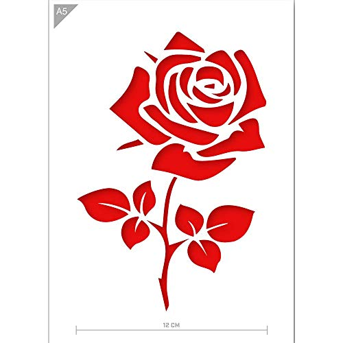QBIX Stencil di Rose - Stencil di Fiori - Ramo di Fiori - Formato A5 - Stencil Riutilizzabile per Bambini Fai-da-Te Adatto per Pittura, Cottura, Artigianato, Parete, mobili
