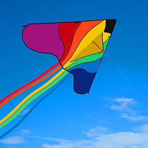 Ucradle Kinder Drachen 80 x 160 cm - Leicht zu fliegen für Spiele und Aktivitäten im Freien, inkl. 100m Drachenschnur und 5 Bunte Streifenschwänze