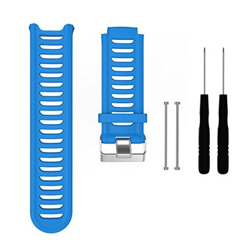 MOTONG Garmin Forerunner 910XT Replacement Band - MOTONG Silicone Strap Replacement Band for Garmin Forerunner 910XT (Silicone Blue)