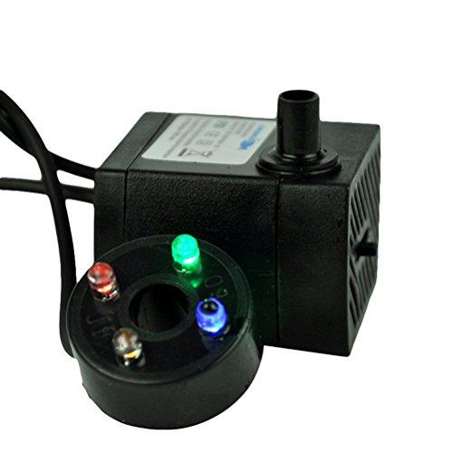 OUNONA Laghetto Pumpe mit LED Licht Einstellbar mit EU Stecker 3 W