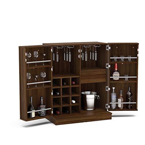 Boahaus Expandable Bar Cabinet with Wine Storage Dark Brown/Dark Wood