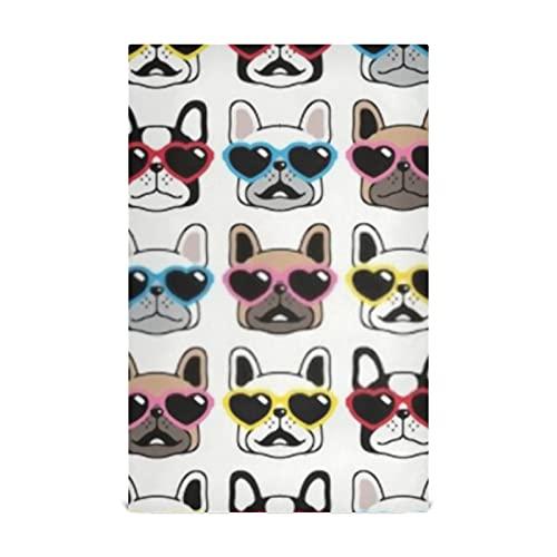 JIUCHUAN Kitchen Dish Towel Set 6 Dog Seamless Pattern French Bulldog Valentine Kitchen Towel Large28''x18'' Kitchen Towels,Dishcloths,Decorative Waffle Towels,Hand Towels,Tea Towels
