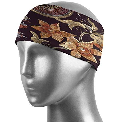 Sport Stirnbänder Stickerei Asiatische Drachen Blumen Muster Sport Stirnbänder Schweißableitendes Stirnband Superweiches, dehnbares Schweißband Atmungsaktive Stirnbänder