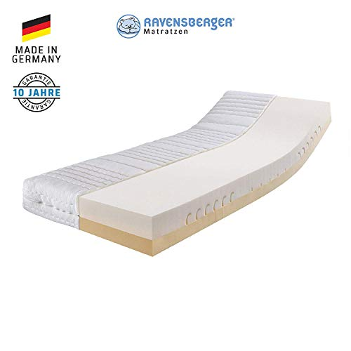 RAVENSBERGER Duo-VISCO® 80 Thermoelastische Premium-Visco-Matratze H2/3 RG 80/50 (50-110kg) Made IN Germany - 10 Jahre Garantie Baumwoll-Doppeltuch-Bezug 90 x 200 cm