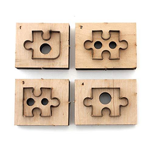 ECMQS 4 Stück Puzzle Holz Stanzform Lederform Puzzle Schneidform Leder Handwerk
