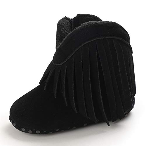 Baby Boys Girls Booties Fleece Anti-Slip Soft Sole Boots Toddler First Walker Warm Shoes Black 12CM