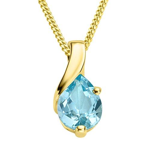 Miore Kette Damen Grazile Halskette mit Anhänger Edelstein/Geburtsstein Topas in Blau Kette aus Gelbgold 9 kt. / 375 Gold, Halsschmuck 45 cm lang