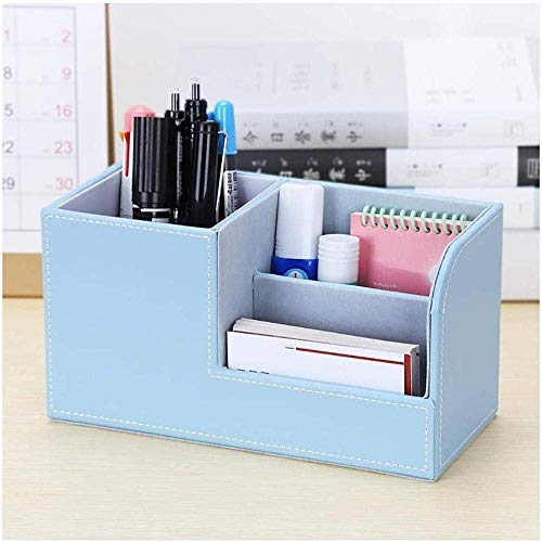 Soul hill Schreibtisch Tidy Organizer, Multifunktions-Leder-Feder-Bleistift-Töpfe-Halter, Büro-Schreibtisch Papier- und Schreibwaren Organizer-Rosa (Color : Blue)