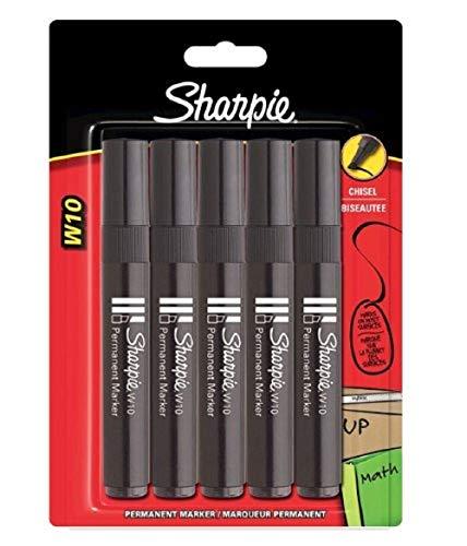 Sharpie W10 Pennarelli indelebili con punta a scalpello, nero, Confezione da 5