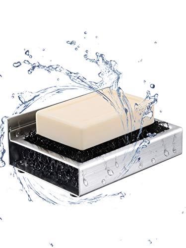 ToHa Seifenschale ohne Bohren, Badezimmer Küche 3M Selbstklebende Seifenschale Edelstahl-Seifenhalter,Extra Aufkleber Kostenlos