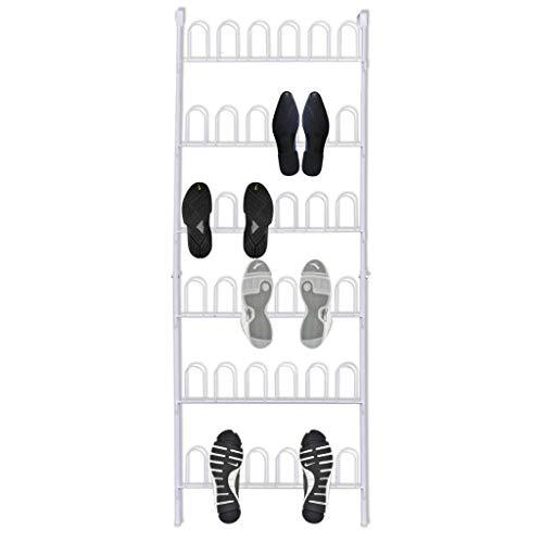KWOPA Estante de almacenamiento para zapatos de 6 filas, portátil, de acero, para 18 pares de zapatos, para colgar sobre la puerta, color blanco, 56 x 157 cm