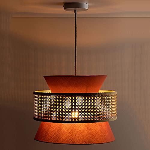 NAMFMSC Lámpara de araña de tela roja moderna y simple Lámpara colgante de ratán retro de una sola cabeza Lámpara colgante de techo semiempotrada E27 Luces colgantes de techo para restaurante Bar Ilum