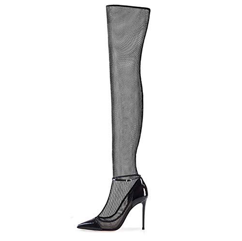 CHUANXIE Sexy Damen Spitzen Stiefel Mesh Garn über den Knien Coole Stiefel Größe High Heels Damen Stiefel