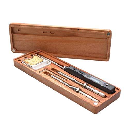 Backbayia TS100 - Caja de madera de hierro para soldar/caja de almacenamiento/organizador de hierro para soldar