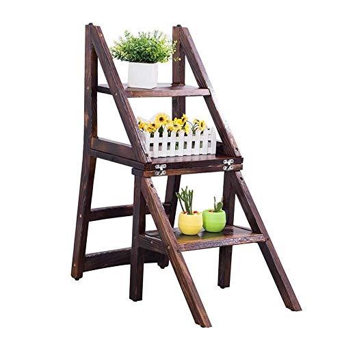 DNSJB Home - Silla plegable de escalera de 4 niveles, silla multifunción de madera maciza, escalera de doble uso