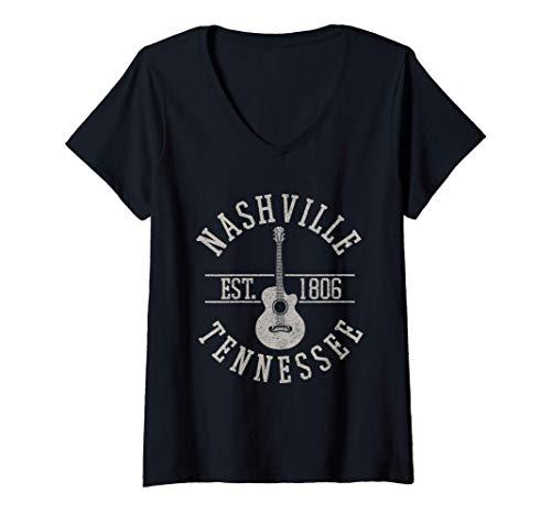 Damen Nashville Tennessee Country Musik USA Gitarre Souvenir T-Shirt mit V-Ausschnitt