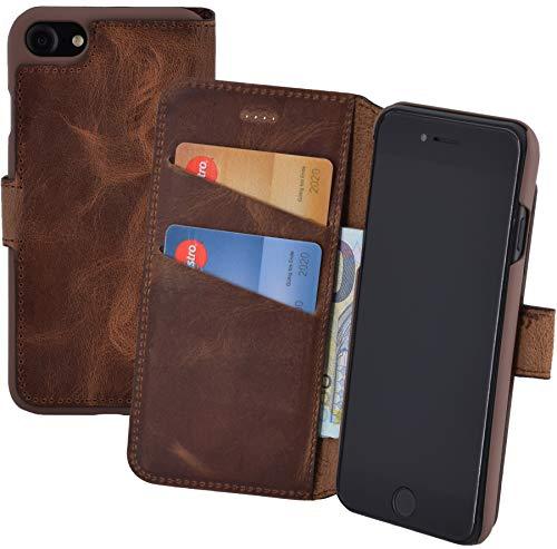 Suncase Book-Style (Slim-Fit) für iPhone 8 Ledertasche Leder Tasche Handytasche Schutzhülle Hülle Hülle (mit Standfunktion & Kartenfach) antik Coffee