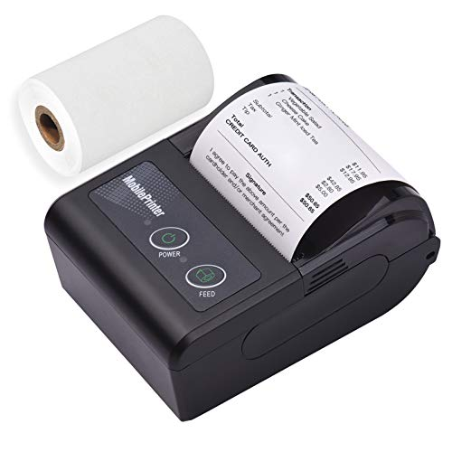Aibecy Impresora térmica de recibos de facturas BT inalámbrica de 58mm y 2 pulgadas Mini impresora de punto de venta móvil Soporte de comando de impresión ESC/POS Compatible con Android iOS Windows