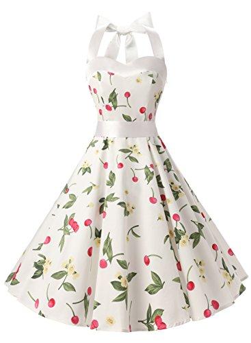 DRESSTELLS Version3.0 Vintage 1950's Audrey Hepburn pin-up Robe de soirée Cocktail Style Halter années 50 à Pois Blanc à Fleur L