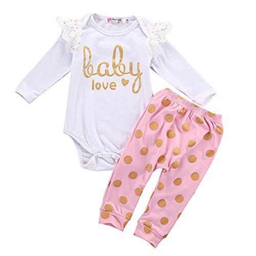 SAMGU Bébés Newborn Nouveau-nés Baby Romper + Pantalons Combinaison Outfit Vêtements Ensemble Rose + Blanc