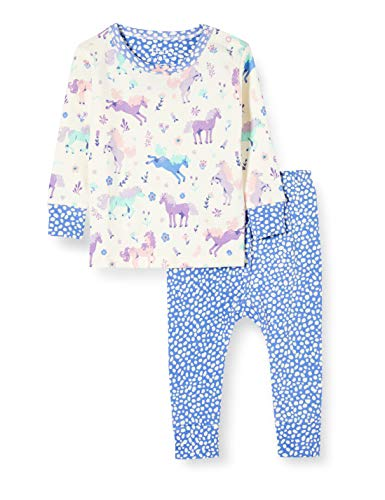 Hatley Organic Cotton Long Sleeve Pyjama Sets Ensemble, Blanc (Playful Ponies 100), 12 Mois Bébé garçon