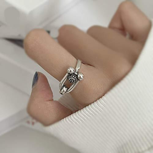 LuckyOne 925 plata esterlina Retro U forma grande negro piedra preciosa anillo femenino refinamiento moda moda joyería accesorios venta por mayor
