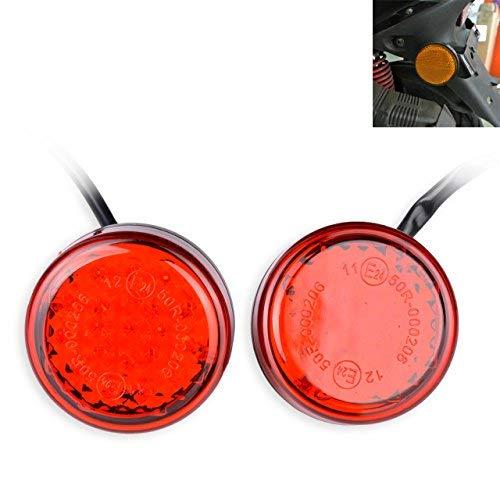 TUINCYN Lot de 2 Mini réflecteurs universels à 24 LED Rouges Clignotants, Feux de freinage, Feux de Position latéraux pour Moto, Camion, Voiture et Camion.