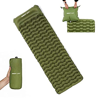 """Night Cat Inflatable Sleeping Pads Mat Bed with Pillow and Air Bag for Camping, Backpacking Hiking; Ultra-Light, Compact, Comfortable, 75""""x25"""" Green"""