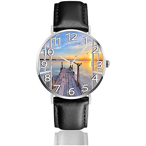 Sunset Sea Window Watches Durevole orologio da polso al quarzo silenzioso in pelle PU
