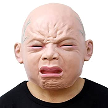 CreepyParty Releastic Human Mask Novelty Halloween Costume Party Latex Head Masks  crying baby