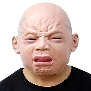 CreepyParty Novedad Fiesta de Disfraces de Halloween Máscara para la Cabeza de Látex Bebé Llorón Máscara de Carnaval
